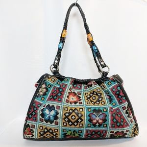 Isabella Fiore Vintage Embroidery Leather Trim Bag